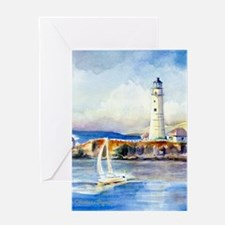 Boston Light Shower Curtain Greeting Card