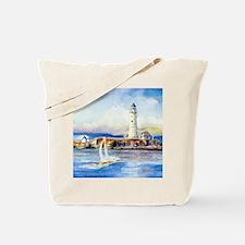 Boston Light Shower Curtain Tote Bag
