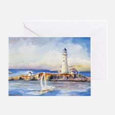 Boston Light Shoulder Bag Greeting Card