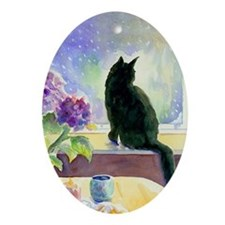 Black Cat Journal Oval Ornament