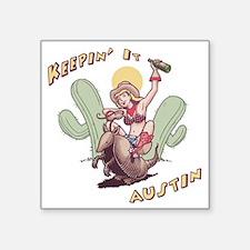 """austin-armadillo-T Square Sticker 3"""" x 3"""""""