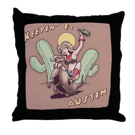 austin-armadillo-TIL Throw Pillow