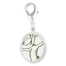 Lexie the Jack Russell Terrier Silver Oval Charm