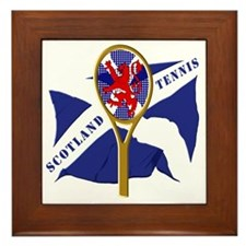 Scotland Saltire Flag Tennis Design Framed Tile