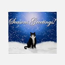 Seasons Greetings Tuxedo Cat Throw Blanket