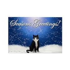 Seasons Greetings Tuxedo Cat Rectangle Magnet
