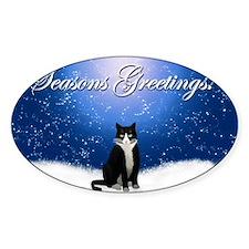 Seasons Greetings Tuxedo Cat Decal