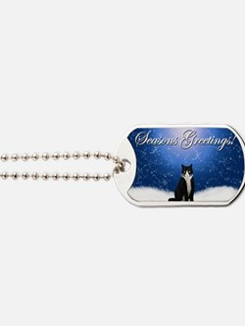 Seasons Greetings Tuxedo Cat Dog Tags