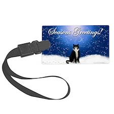 Seasons Greetings Tuxedo Cat Luggage Tag