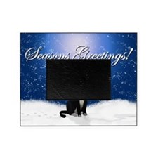 Seasons Greetings Tuxedo Cat Picture Frame