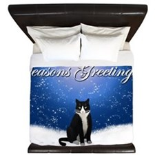 Seasons Greetings Tuxedo Cat King Duvet