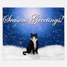 Seasons Greetings Tuxedo Cat King Duvet