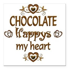 "Chocolate Happy Square Car Magnet 3"" x 3"""