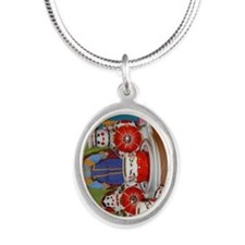 Russian Doll Tea Time Silver Oval Necklace