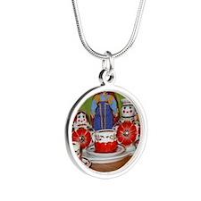 DollyTeaPrint Silver Round Necklace