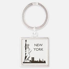Retro New York Square Keychain