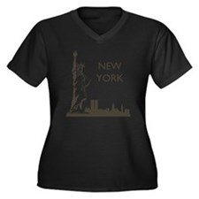 Retro New Yo Women's Plus Size Dark V-Neck T-Shirt
