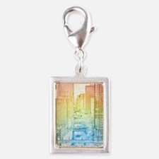 Chicago River Silver Portrait Charm