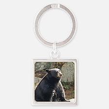 Black Bear Sitting Square Keychain