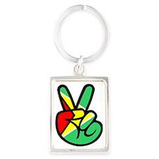 Guyana Peace & Love T-shirt Portrait Keychain