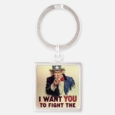 Fight The Welfare State Square Keychain