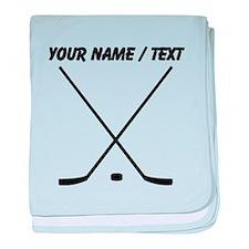 Custom Hockey Sticks And Puck baby blanket