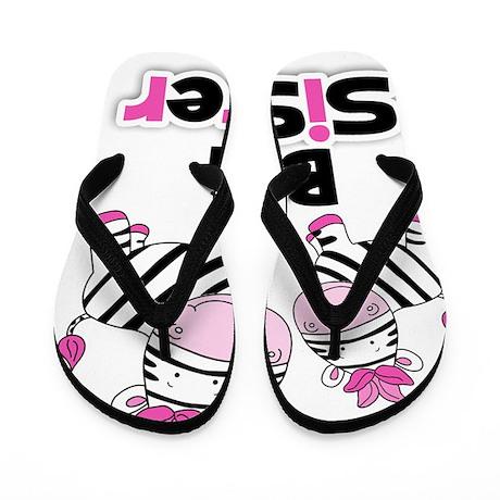 Big Sister Pink Zebras Flip Flops