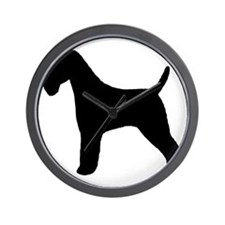 wirefoxterrierbizblk Wall Clock