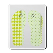 Lime Checks and Dots Flip Flops Mousepad