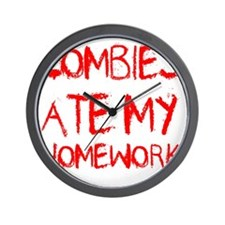 Zombies Ate My Homework Wall Clock