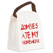 Zombies Ate My Homework Canvas Lunch Bag