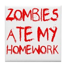 Zombies Ate My Homework Tile Coaster