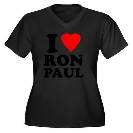 I Heart Ron Women's Plus Size Dark V-Neck T-Shirt