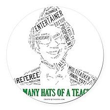 Male Teachers Hats Round Car Magnet