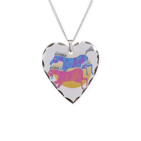 Horses of the Sun 2 Necklace Heart Charm