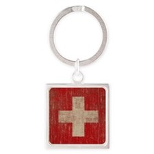 Vintage Switzerland Square Keychain
