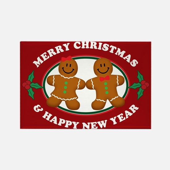 Merry Christmas Gingerbread Couple Magnets