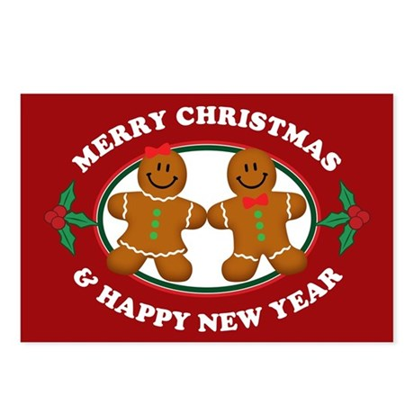 Merry Christmas Gingerbread Couple Postcards (Pack