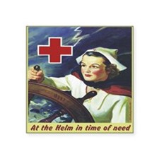 "Nurse at the Helm Square Sticker 3"" x 3"""