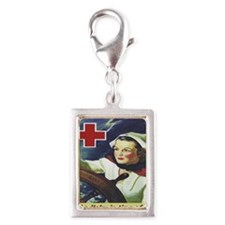 Nurse at the Helm Silver Portrait Charm