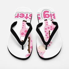 Big Sister Pink Giraffes Flip Flops
