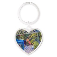Blue Heaven New View framed print Heart Keychain