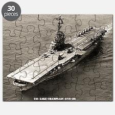 uss lake champlain cvs framed panel print Puzzle