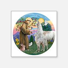 "Saint Francis with Llama Ma Square Sticker 3"" x 3"""