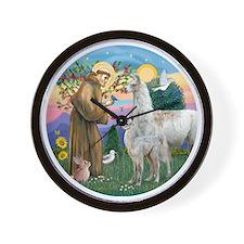 Saint Francis with Llama Mama & Baby Wall Clock