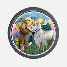 Saint Francis with Llama Mama & Baby Wall Clock