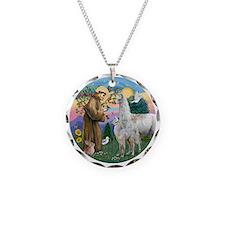 Saint Francis with Llama Mam Necklace