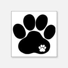 "Double Paw Print Square Sticker 3"" x 3"""