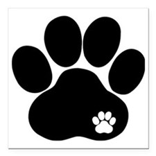 """Double Paw Print Square Car Magnet 3"""" x 3"""""""