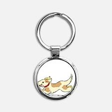 Dog Gate Open Round Keychain